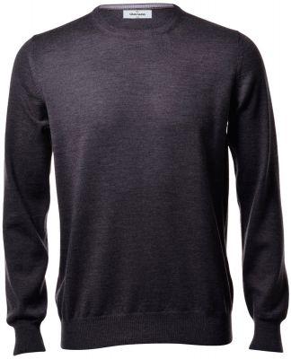 Round neck gran sasso grey anthracite slim fit wool merinos
