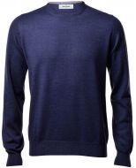 Gran sasso neck round blue denim slim fit wool merinos
