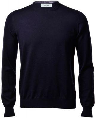 Gran sasso neck round blue navy slim fit wool merinos