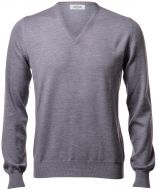 Pullover scollo a V gran sasso grigio slim fit lana merinos