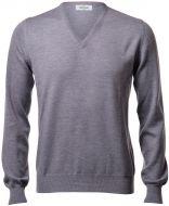 Pullover v neckline gran sasso grey slim fit wool merinos