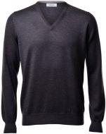 Pullover scollo a V gran sasso grigio antracite slim fit lana merinos