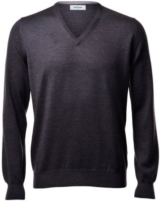 Pullover v neckline gran sasso grey anthracite slim fit wool merinos