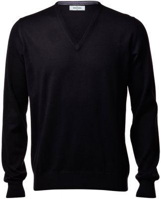 Pullover scollo a V gran sasso nero slim fit lana merinos