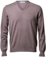 Pullover v neckline gran sasso hazelnut slim fit wool merinos