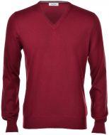 Pullover v neckline gran sasso bordeaux slim fit wool merinos