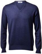 Pullover scollo a V gran sasso blu denim slim fit lana merinos