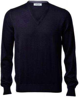 Pullover scollo a V gran sasso blu navy slim fit lana merinos