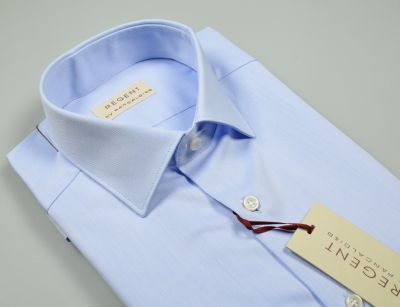 Regular fit twill cotton pancaldi light blue shirt