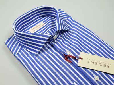 Blue slim fit shirt with pure cotton pancaldi stripes