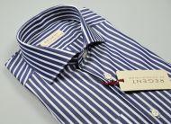 Blue slim fit shirt with wide stripes pure cotton pancaldi