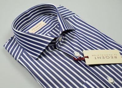 Camicia slim fit blu a righe pancaldi puro cotone