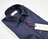 Camicia blu scuro pancaldi cotone stretch slim fit