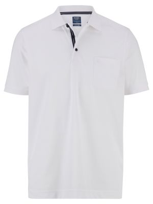 Olymp white polo shirt in modern fit jersey cotton blend