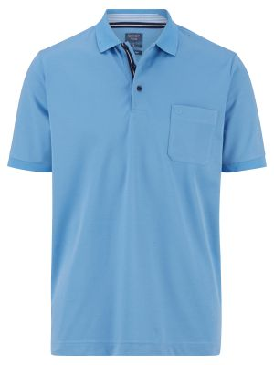 Olymp light blue polo shirt in modern fit jersey cotton blend