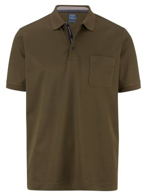 Polo verde scuro olymp in misto cotone jersey modern fit