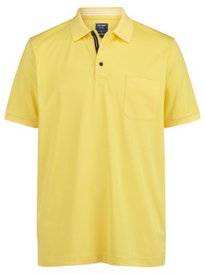 Polo gialla olymp in misto cotone jersey modern fit