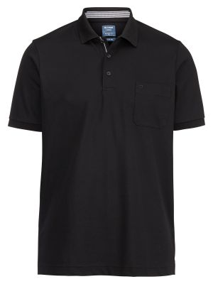 Polo nera olymp in misto cotone jersey modern fit