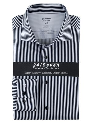 Blue striped shirt olymp modern fit cotton jersey