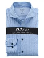 Light blue olymp shirt in slim fit printed jersey