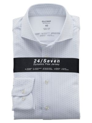 White olymp shirt in slim fit printed jersey