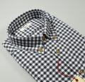 Gray plaid plaid shirt in flannel button down modern fit