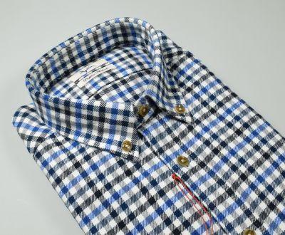 Camicia ingram a quadri azzurro in flanella button down modern fit