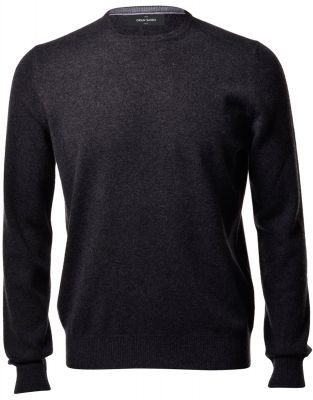 Anthracite grey crew-neck sweater gran sasso puro cashmere