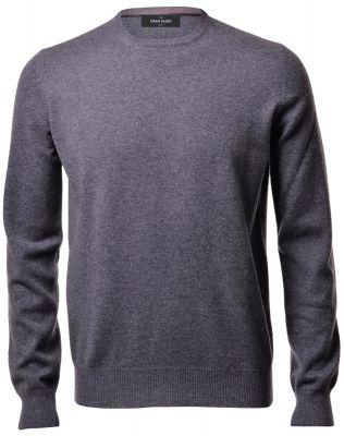 Grey crew-neck sweater gran sasso puro cashmere