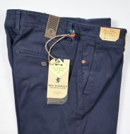 Modern fit trousers blue sea barrier stretch cotton operated
