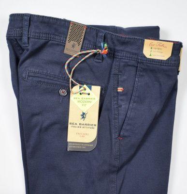 Pantalone modern fit blu sea barrier cotone stretch operato