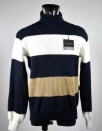 Blue striped turtleneck manuel garcia in wool blend