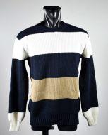 Blue manuel garcia striped crew neck in wool blend