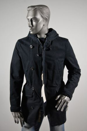 Slim fit jacket Parka with hood blue john barritt