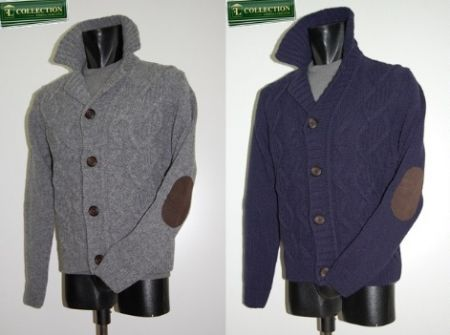 Cardigan jacket wool Bramante with patches