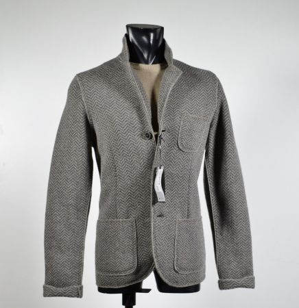 Knit jacket with patches Become slim fit unlined taupe herringbone