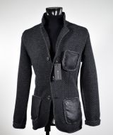 Giacca in pura lana in maglia become grigio scuro spigato