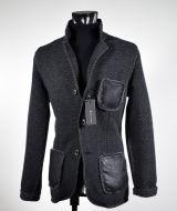 Pure knit wool jacket become dark grey herringbone