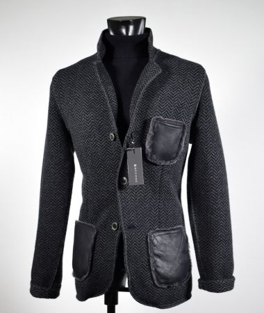Pure knit wool jacket become dark grey herringbone