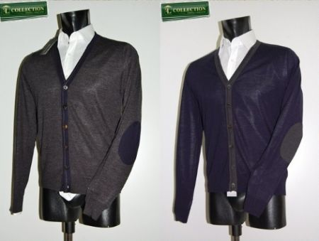 Cardigan lana pettinata con toppe Slim Fit