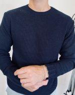Maglione girocollo manuel garcia blu misto lana