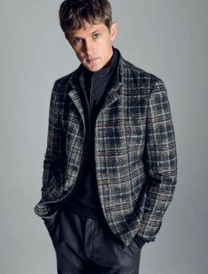 Grey plaid digel slim fit jersey jacket