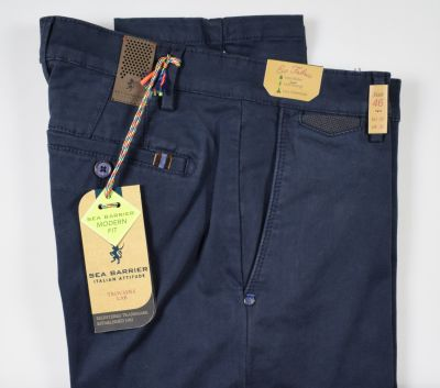 Blue sea barrier trousers in modern fit stretch satin cotton