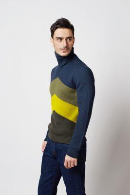 Gran sasso blue merino wool turtleneck with pattern