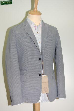 Giacca moda cotone lavato micro quadro azzurro