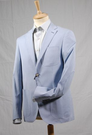 A thousand lines blue unlined jacket in cotton