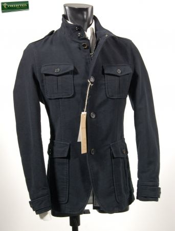 Field jacket jacket in blue moleskin John Barritt