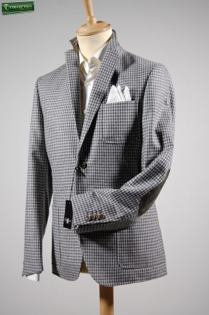 Jacket with patches grey Plaid