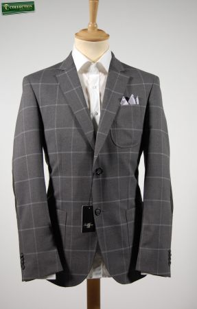 Giacca blazer a quadri grigio con toppe piero giachi