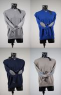 Maglione girocollo con toppe misto cashmere